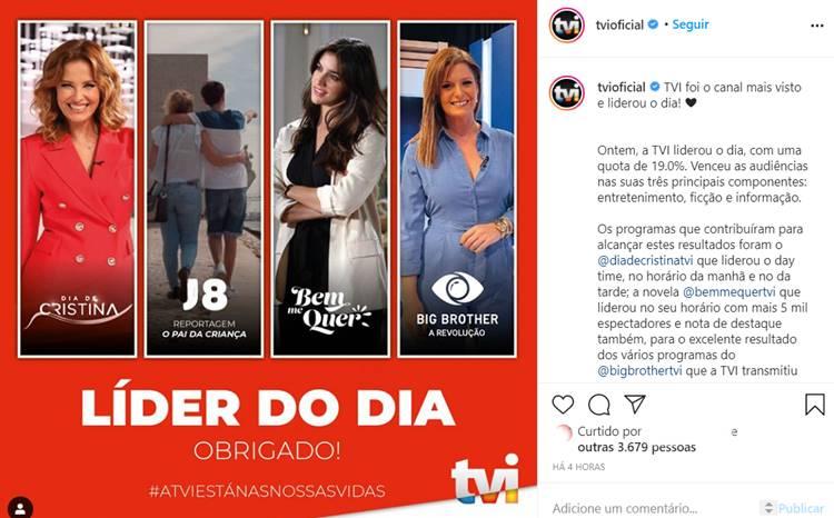 Publicação TVI/Instagram