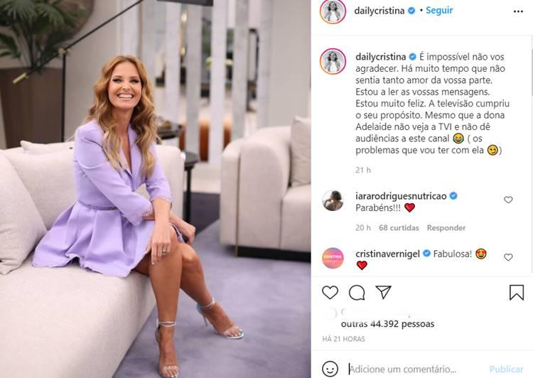 Publicação Cristina Ferreira/Instagram