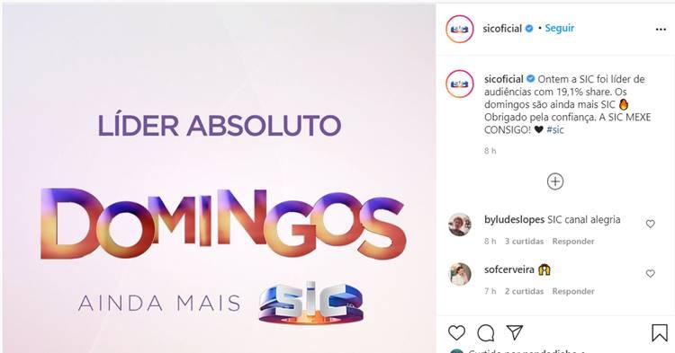 Publicação da SIC/Instagram